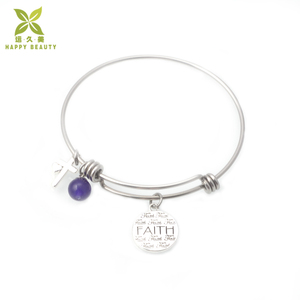 Silver heart and Cross pendant faith letters adjustable bangle