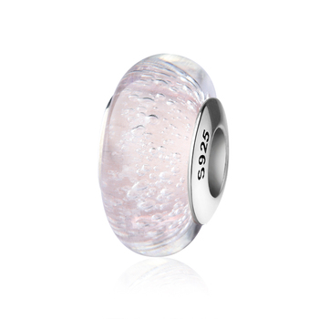 S925 sterling silver murano glass charm pink tear beads for jewelry making