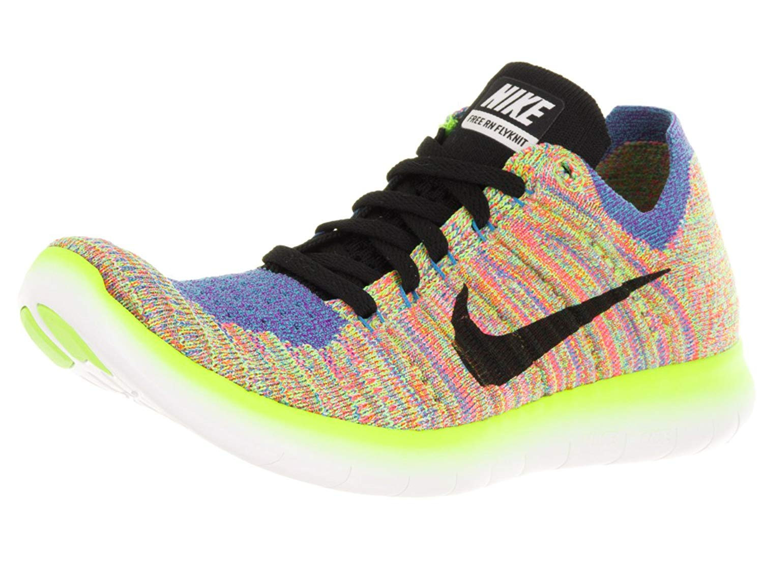 more photos 2c002 59762 Get Quotations · Nike Womens Free Running Motion Flyknit Shoes,  WhiteBlackBlueHyper Punch