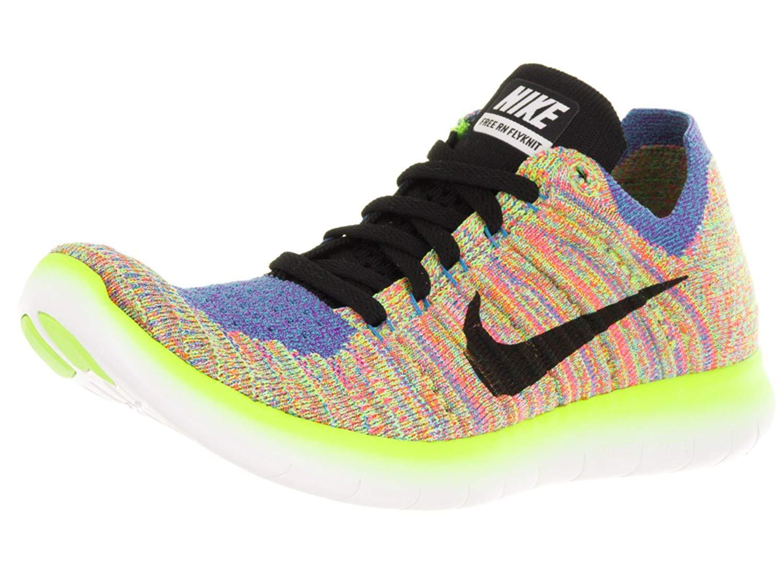 Nike Women's Free Running Motion Flyknit Shoes, White/Black/Blue/Hyper Punch - 9.5 B(M) US