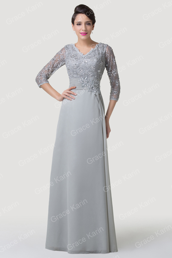 Grace Karin Grey Mother of Brides Dresses Chiffon Long Sleeve Lace ...