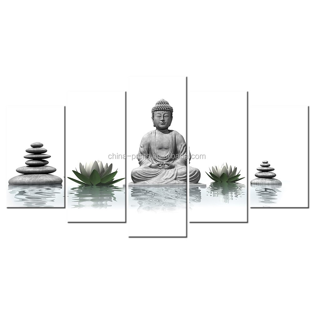 Zen Buddha Lotus Photo Canvas Painting/ Group Canvas Prints for Home Wall Decor/Drop Shipping Framed And stretched