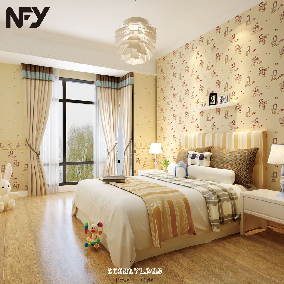 Ds18121 Nuofeiya Non Woven Back Washable Kids Children Baby Bedroom  Elephants Cartoon Design Wallpaper With Borders - Buy Wallpaper,Baby Kids  Children ...