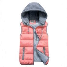 font b women s b font cotton wool collar hooded down font b vest b