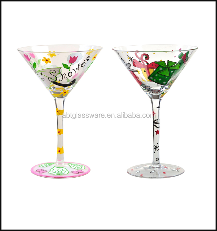 Wholesale hand painted Martini wine glass,hand painted cocktail glass