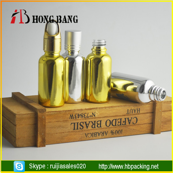 wholesale screen printing electroplating galvanized glass bottles with aluminum cap for cosmetic serum