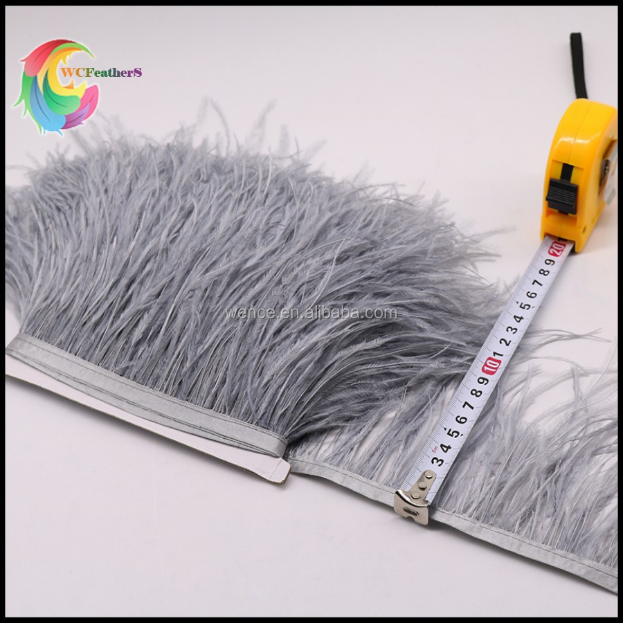 WC561 Yiwu WenCe wholesale 100% natural dress wedding decoration 2017 hot sell ostrich feather trim fringe