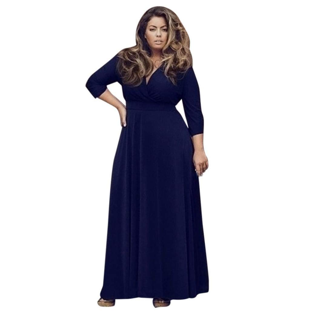 Women's Solid V-Neck 3/4 Sleeve Plus Size Evening Party Maxi Dress 2018 Wedding Bridesmaid Cocktail Prom Loose Dress