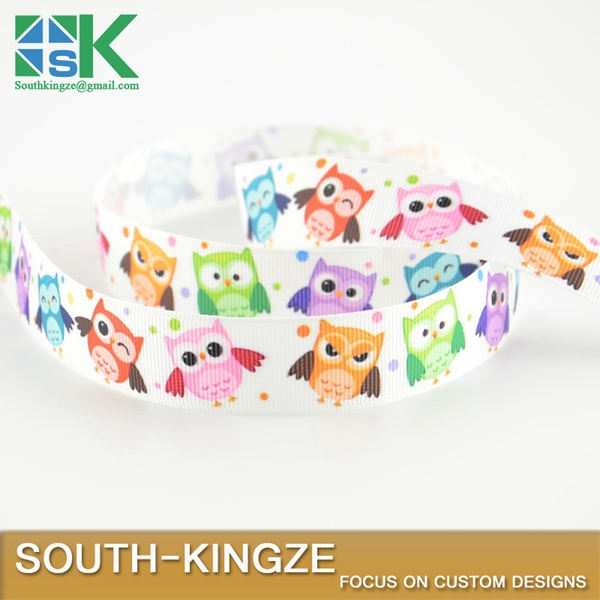 "Free shipping cute owl designs 7/8"" 22mm width min order is $5(mix order) grosgrain ribbons high quality polyester DIY gift"
