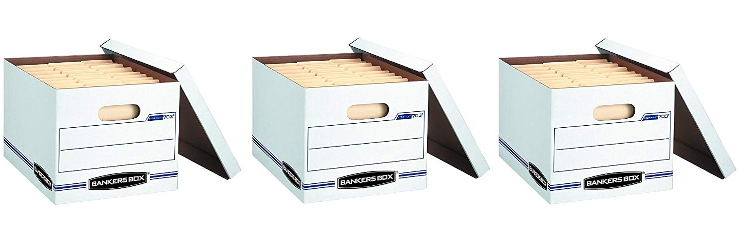 Bankers Box Stor/File Storage Box with Lift-Off Lid, Letter/Legal, 12 x 10 x 15 Inches, White, (3 X Pack of 4)