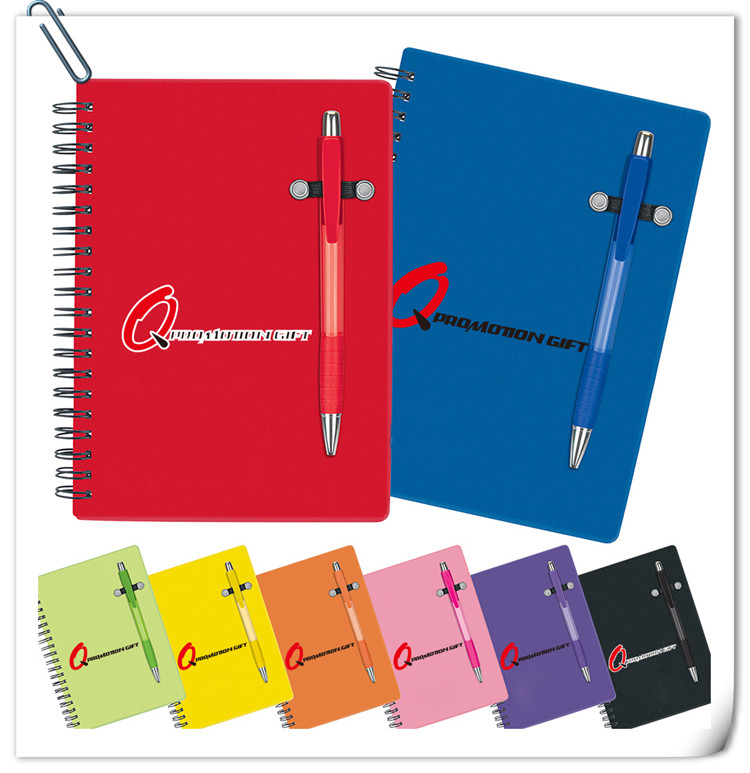 pen buddy spiral 70sheet lined notebook set with ball pen and translucent color cover