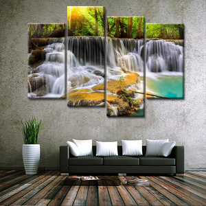 4 Panel Green Waterfall Canvas Art Painting Modular Landscape Posters Wall Decor for Living Room