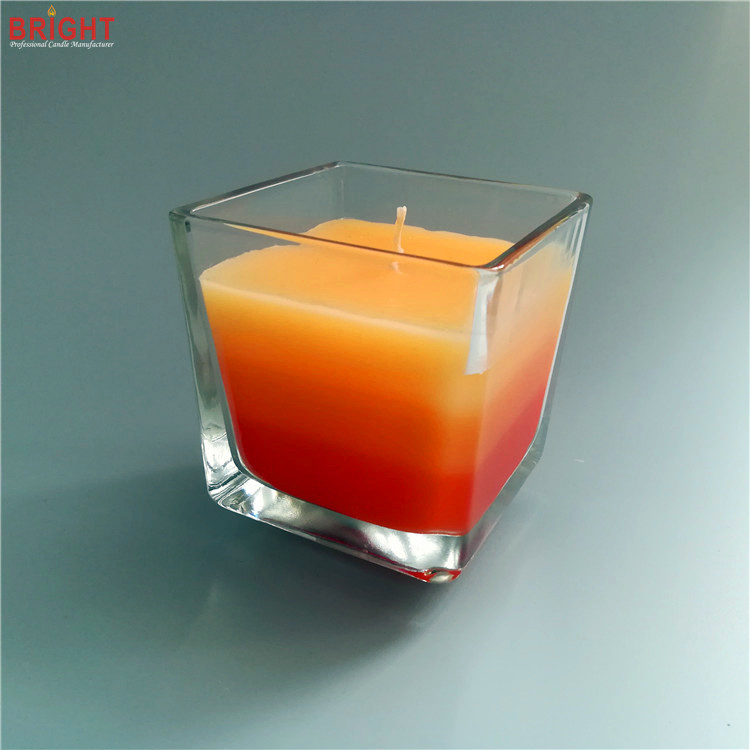 Bulk square big scented 3 colored glass jar candles