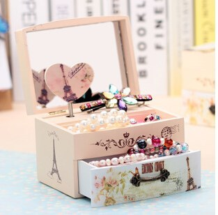 china alibaba Promotional jewelry box Wooden Music Box with mirror and drawer