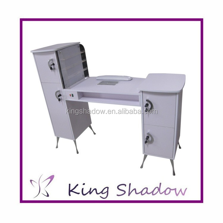 2017 double nail table nail dryer station portable for Long manicure table