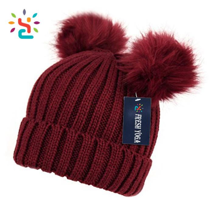 Personalized animal hat handmade crochet funny beanie two hair balls pom  beanie 06e86e821ac6