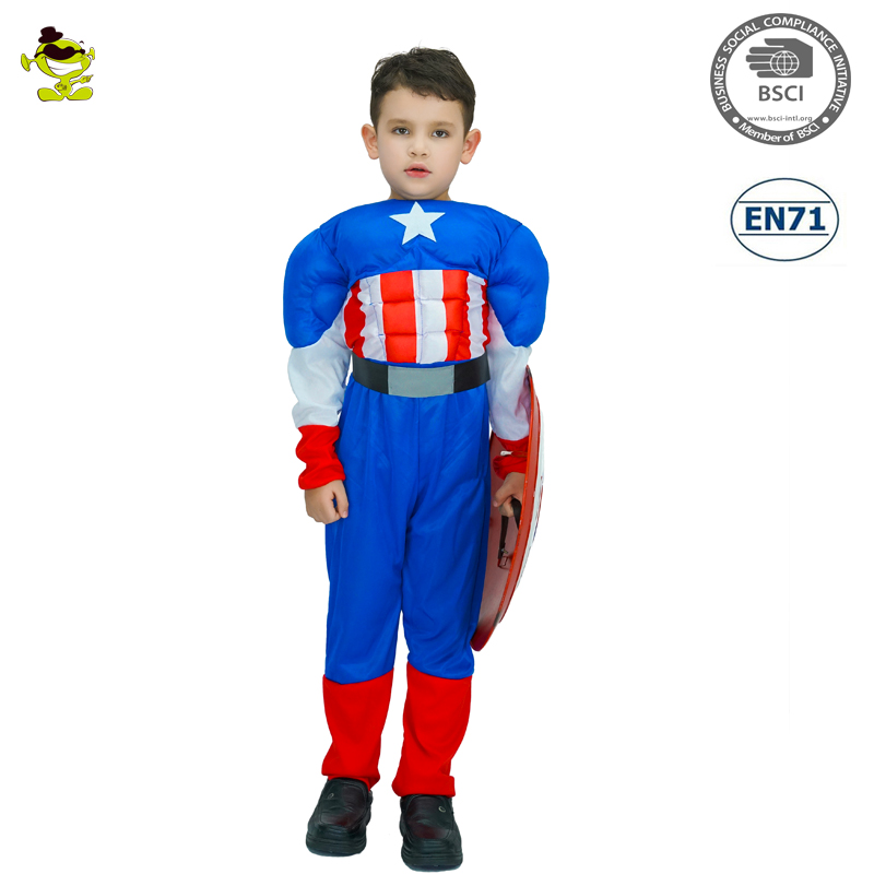 Boys Captain America Costumes Kids Brave Movie Hero Cosplay Suits Great Superman Role-play Outfit for Party Performance