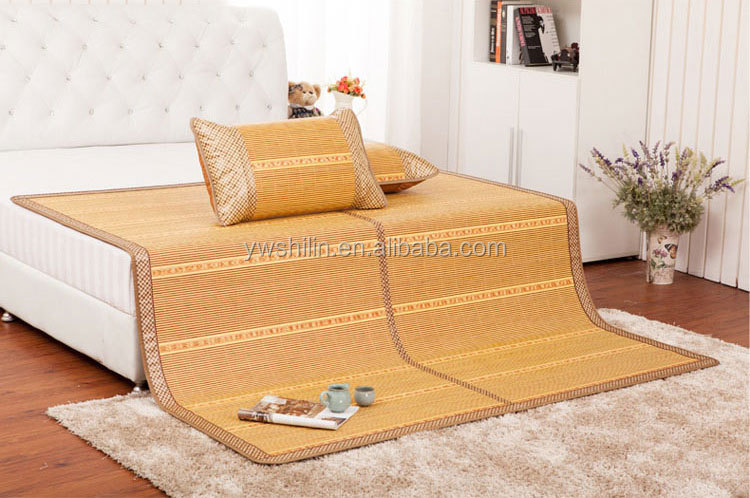 Roll Up Bamboo Bed Mat With Pillow Bamboo Sleeping Mat Bamboo Summer Sleeping Mat