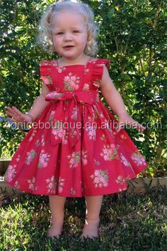 western party wear girls flutter sleeve frock design flower printing red dress clothes