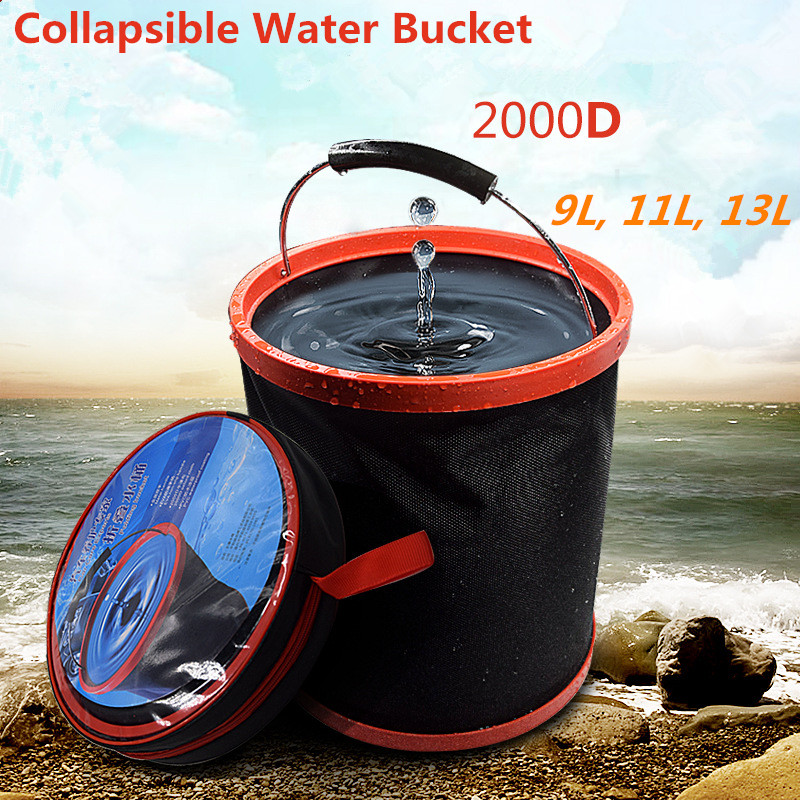 Fortable foldable water bucket multifunctional 2000D collapsible bucket for camping hiking