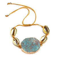 Natural Stone Gold Shell Sea Summer Season Trending Bracelet