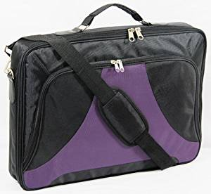 "Lotsaveoutlet 10.1"" 11.6"" 12.5"" 13.3"" 14"" Inch Black Purple Laptop Bag Case Notebook Bag Case Classic Series compartment Studio Slim Foam Carrying Messenger Bag Sleeve 1680D Case Briefcase Holder Black Purple Padded For Apple Macbook Macbook Air Macbook Pro Retina HP IBM Dell Latitude XPS Acer"