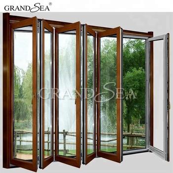 Wooden Grain Color Aluminum Framed Folding Exterior Doors In Dubai