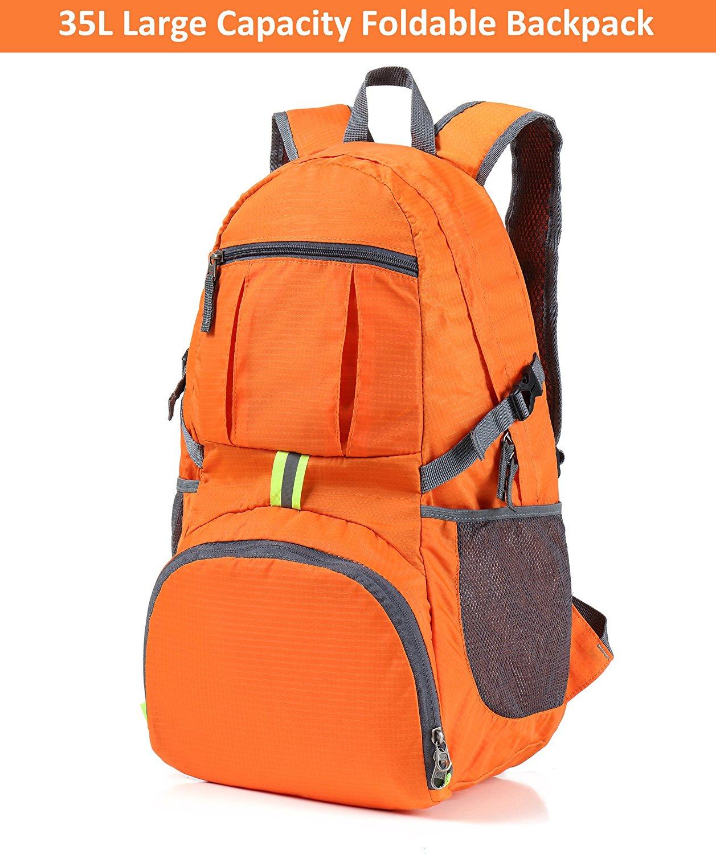 Finnhomy 35L Lightweight Packable Durable Travel Hiking Backpack Daypack  Orange 2b3054bf09e2d