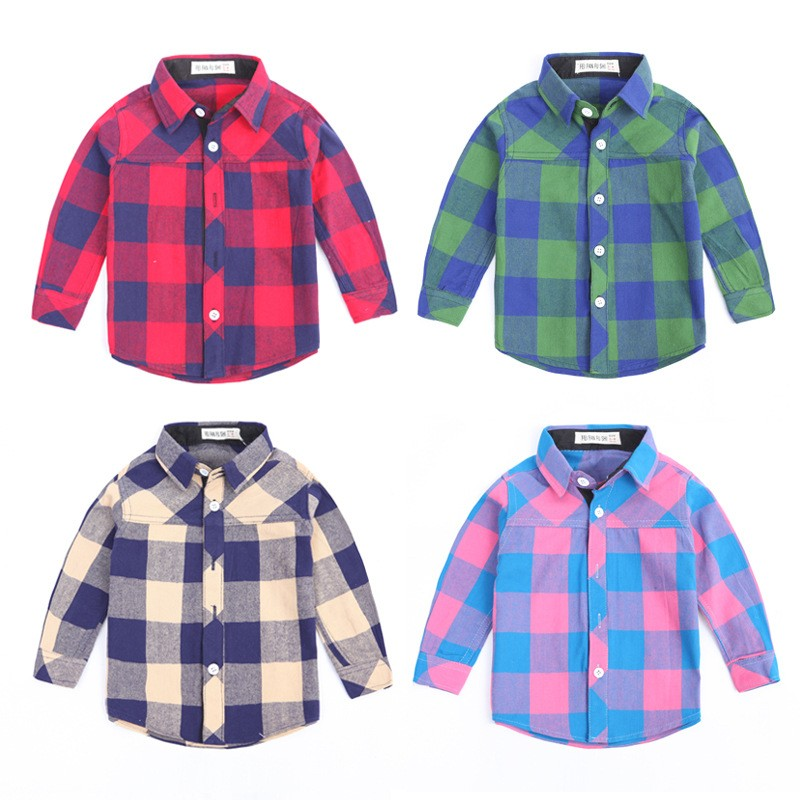 dd52d40dc6f1 Kids Clothes 2017 New Style Baby Boy Dress Plaid Shirt Of Online Shopping