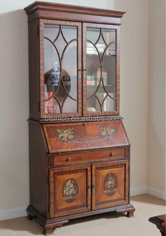Floral Painted Glass Door Cabinet Special Secretary Bookshelf Curio French With