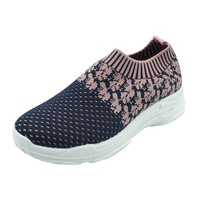 Most popular knit fabric fashion sneakers women casual sport shoes