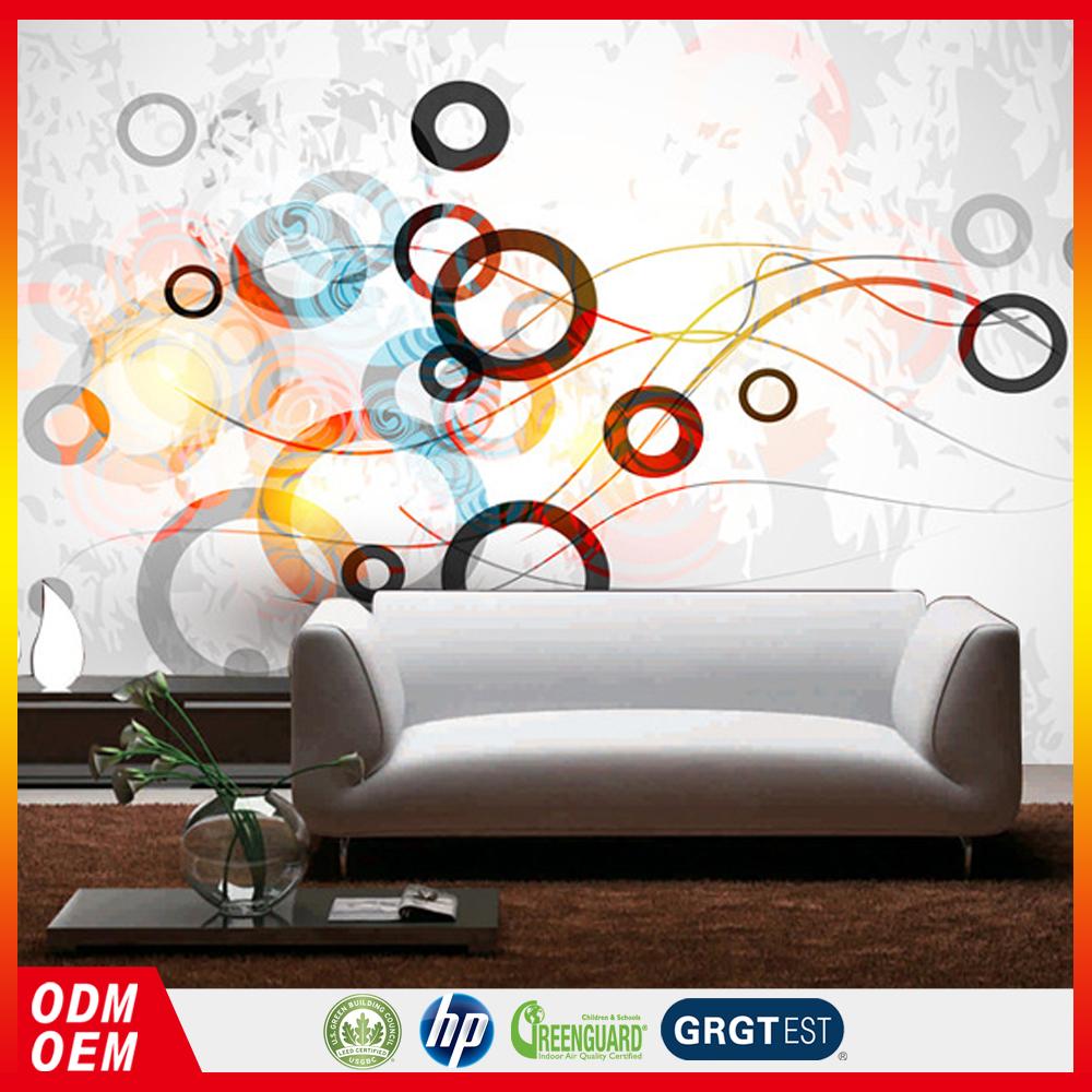 Décoller Papier Peint Produit lignes dynamiques couleur anneau 3d papier peint abstrait cercle décoration  de la maison canapé fond papier peint peintures murales