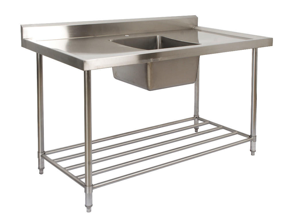 Commercial Freestanding Stainless Steel Double Drain Board Kitchen Sink