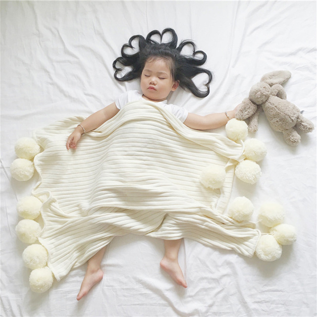 Newborns Super Soft White Pink Gray 100% Cotton Knitted Blanket With Woollen Ball For Baby Kids