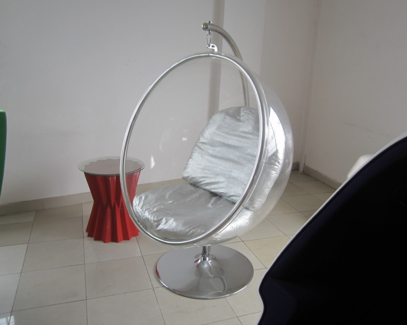 JH-200 Classical Coffee Shop Acrylic Clear Hanging Bubble Chair with Stand