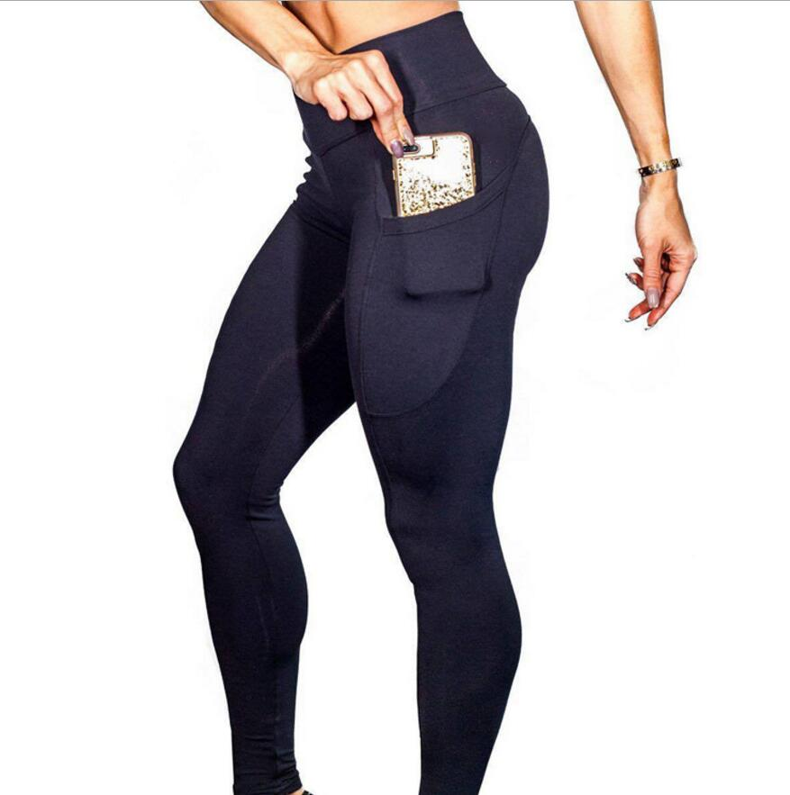 Womens Athletic Apparel Factory Direktes Angebot Hohe Taille Enge Yogahosen mit Tasche
