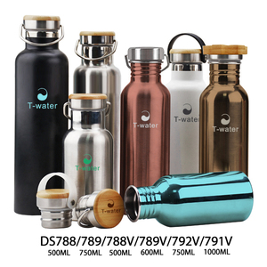 500ml double wall insulated stainless steel metal flask/ sublimation white thermos vacuum flask with bamboo cap