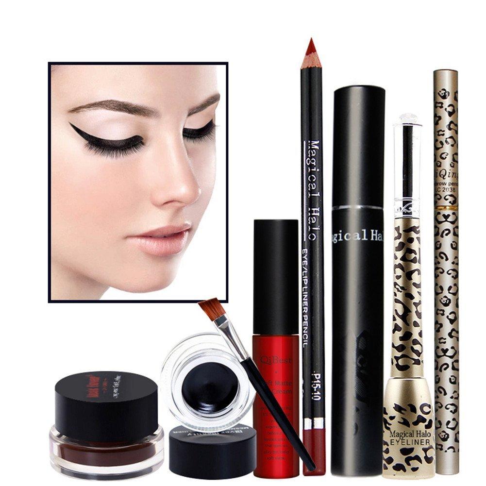 Redcolourful Makeup Tools Set 6Pcs in 1 Set Eyeliner Liquid Pencil, Eyeliner Gel, Liquid Lipgloss, Lipliner, Eyebrow Pencil and Mascara