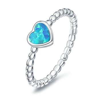 Brand Female Blue Fire Opal Heart Ring Fashion Sterling Silver Jewelry Vintage Wedding Rings For Women