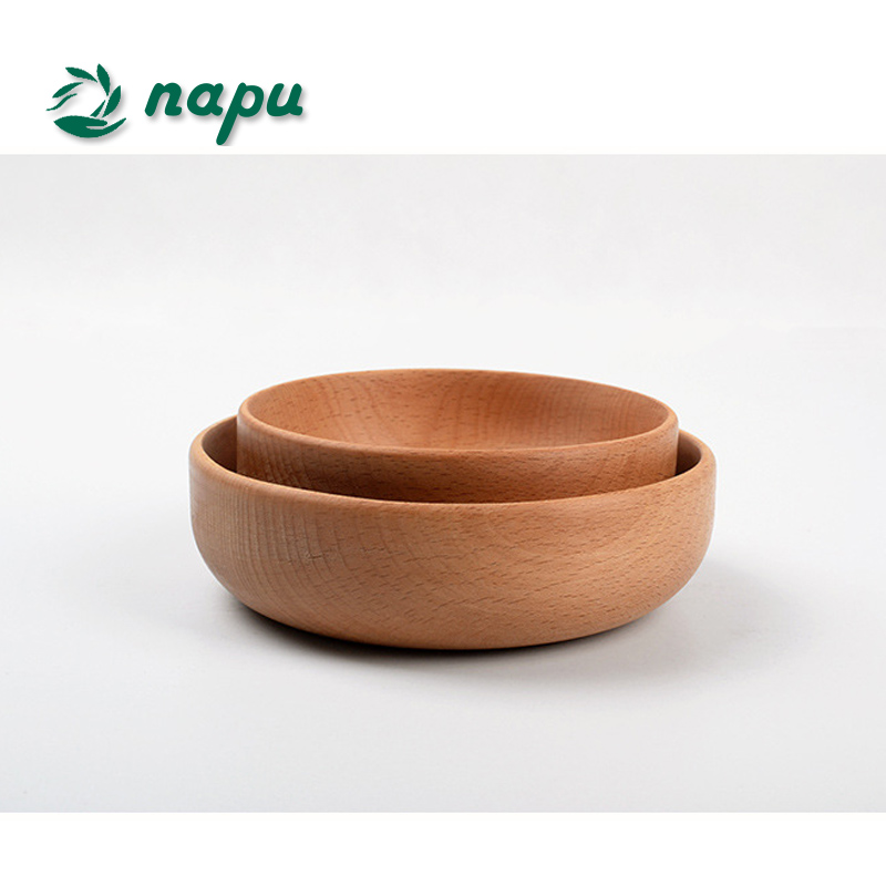 2017 hot sale beech wooden bowl for soup or salad