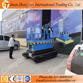 รถบรรทุกติดตั้ง scissor lift platform self propelled scissor lift ตาราง crawler self moving model