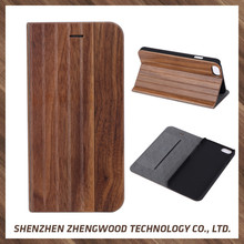 Handmade wood flip leather cell phone case wooden mobile phone case for iphone 6
