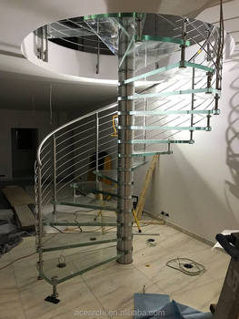 Interior Modern Design Glass Spiral Staircase With Stainless Steel Stair  Railing