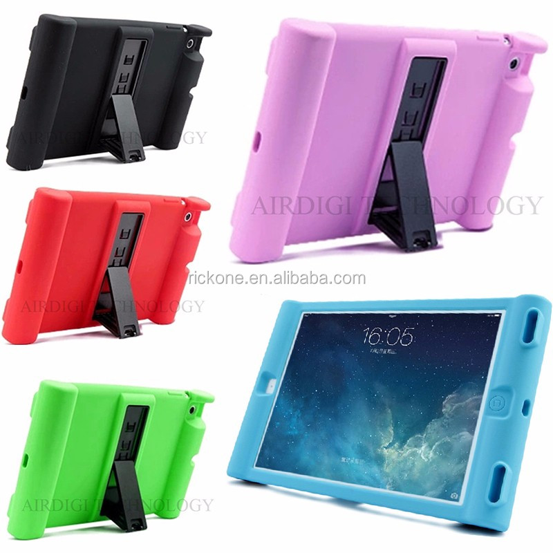 Unique Shockproof Soft Silicone Stand Case For Apple <strong>iPad</strong> 2 3 4 Protective Drop Proof Cover For Home Children Kids Students