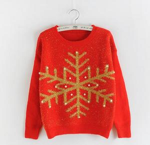 M878 Runwaylover ladies bead snowflake knitted christmas sweater crochet jumpers