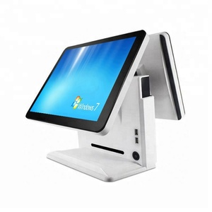 Android windows 10 pos terminal all in one double screen touch pos system for restaurant