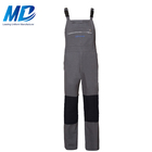 Wholesale 100% Cotton Gray Denim Breathable Cargo Work Bib Overalls