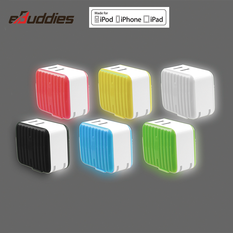 High quality dual color fast charging mfi wall charger for iphone