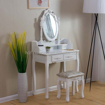 Baroque style wood console table make up table with mirror