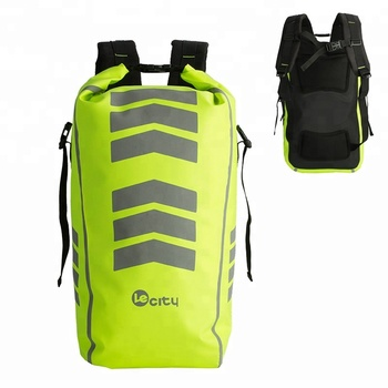 30L China logo custom multifunctional cycling fluorescent green dry bag  waterproof backpack reflectors safe with Reflector 04f09f89b529a